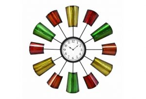 Big 70″s Mod Aluminum Cups Looking Wall Clock, Hand Crafted Danish Modern Retro