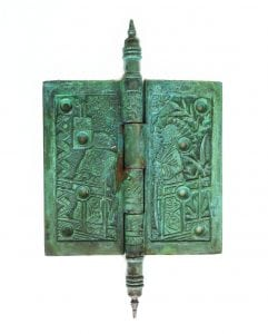 Japanese Motif Design 4.5″ Solid Brass Door Hinge Rare Quality Hardware TIFFANY GREEN