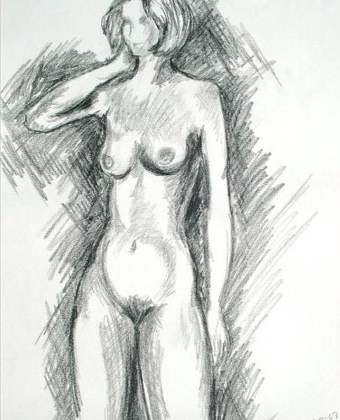 Adam Kraft Charcoal Drawing of Nude Woman 1967, Old Artwork Figure