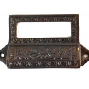 Victorian Aged BRONZE Solid Brass Bin Pull with Card Holder Antique Reproduction