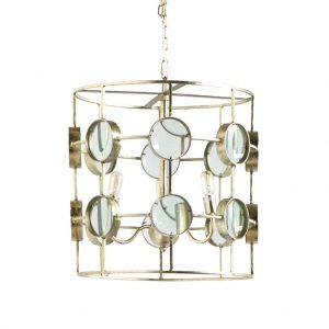 Danish Modern Round Mirror Chandelier with Magnify Glass Circle Steampunk