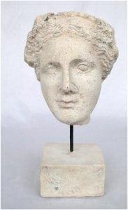 Faux Marble Vesuvius Bust Statue Sculpture on Pedestal and Pole