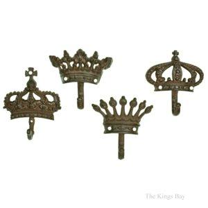 Cast Iron Rust Finish Set of Four Cast Iron Royal Crown Hooks Prince Princess