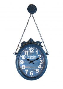 Antique Style French Paris Parisian Oval Hanging Clock With Chain Picture Hangers