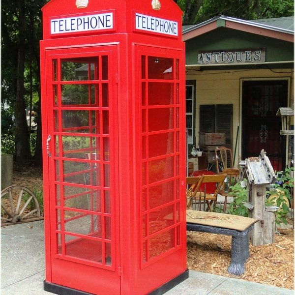 Red Cast Iron & Steel English Replica Telephone Booth Old Antique British Style