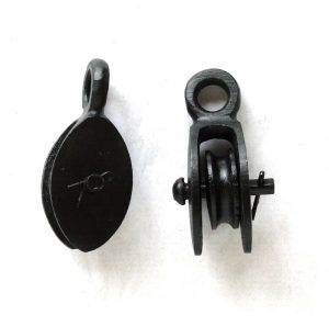 Small Pair of Cast Iron Black & Tackle Style Mounted Lamp Hardware Pulleys