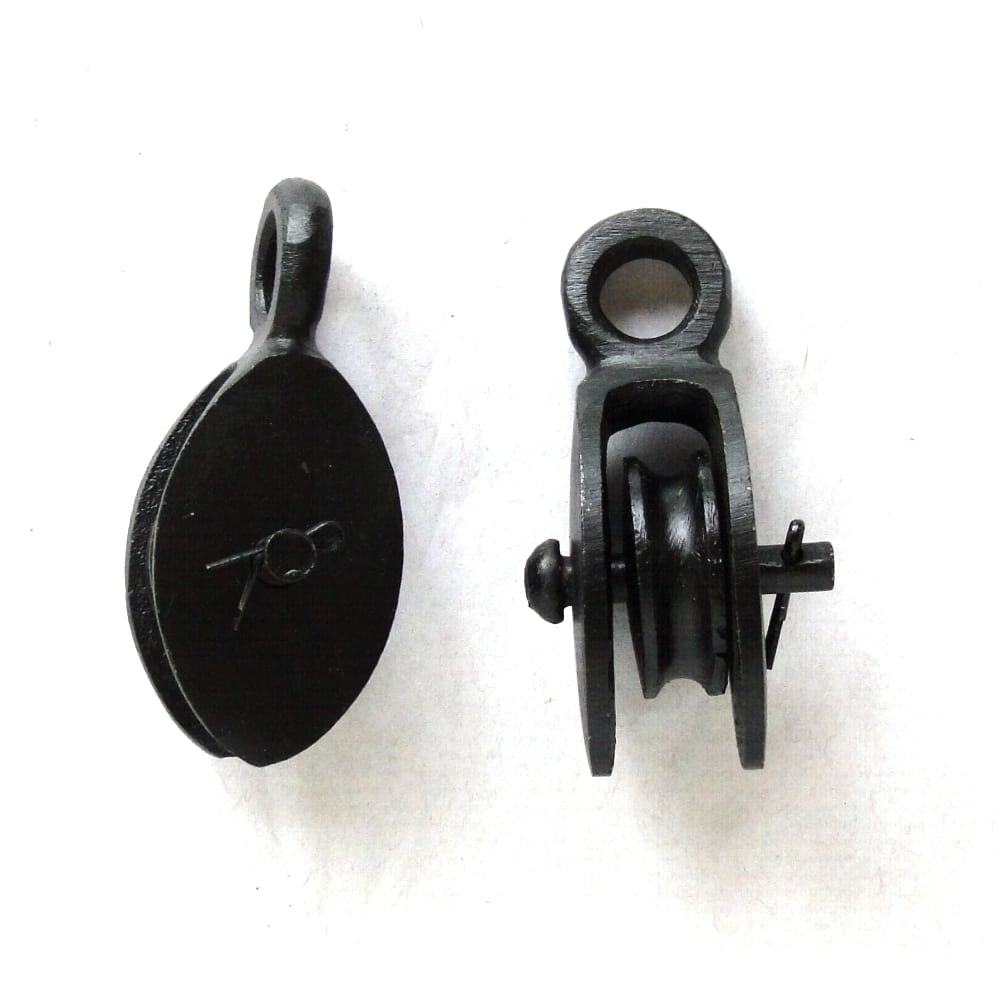 Small Pair of Cast Iron Black & Tackle Style Mounted Lamp Hardware ...