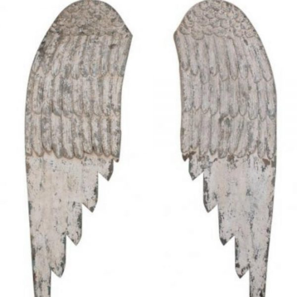 Pair of Wooden Wall Angels Wings Holiday Decor 44″ Carved Cottage Chic