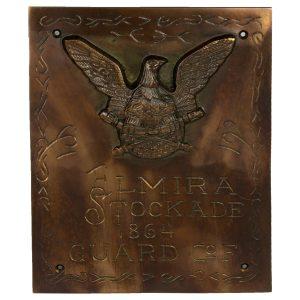 Solid Brass Elmira NY Stockade Civil War Plaque Sign, Vintage Antique Replica