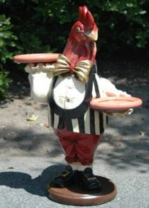2′ Rooster Butler Waiter Statue w Trays Gold Leaf Tie Pub or Bar