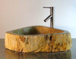 Bathroom Counter Top Petrified Wood Triangle Vessel Basin Sink X4P