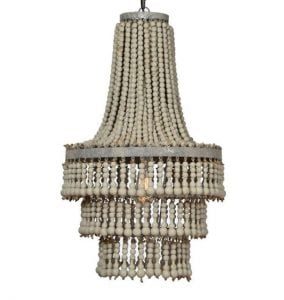 Majestic Chandelier with Aged Driftwood Beads Rustic Silver Leaf Metal Frame