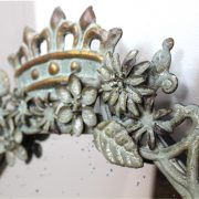 Royal Crown Topped English Wall Mirror w Aged Glass & Hand Painted Finish