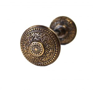 Vintage Brass Beaded Victorian Arts and Crafts Door Knob Pair Rice Bronze Finsh