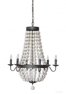 French Country White Wood Beaded and Iron Chandelier Old Style