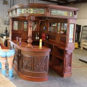 FACTORY 2nd Corner Bar in Antique Vintage Style with Tiffany and Canopy AS IS