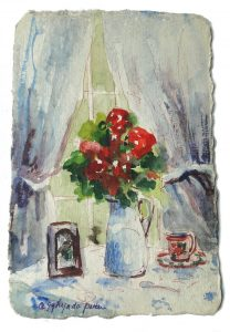 Watercolor Painting on Post Card Signed Listed Artist? flowers Coffee Cup Lovely