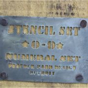 Stencils in Wooden Box Vintage Metal Tin Zinc Numbers Craft Galvanized Set