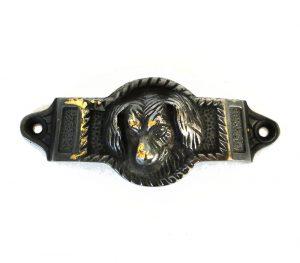 Solid Brass Aged Bronze Dog Bin Pull Antique Vintage Cabinet Hardware Replica