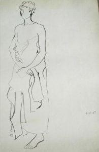 Adam Kraft Vintage Painting Sketch Drawing of Figure, Rare Pencil Listed Artist