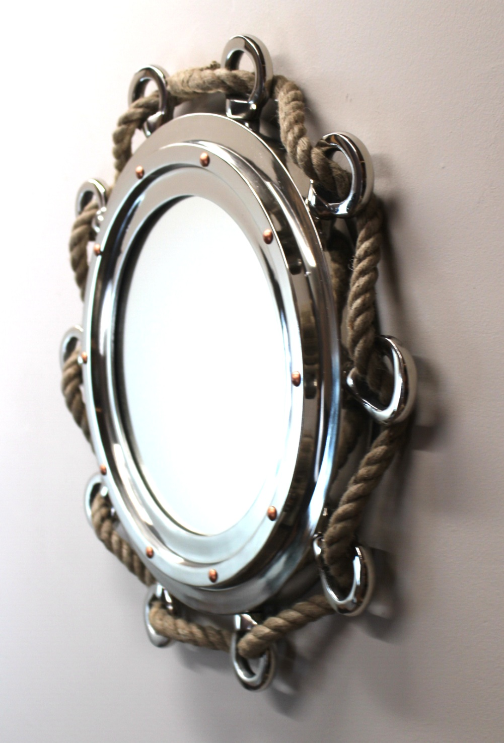 Silver Finish Porthole Mirror With Rope Nautical Ships Boat Decor The Kings Bay
