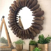 Round Wooden Shoes Mirror Made from Real Antique Shoes From Old Shoemaker Shop