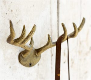 Moose Antler Cast Iron Wall Hook with Aged Gold Painted Finish Lodge Decor