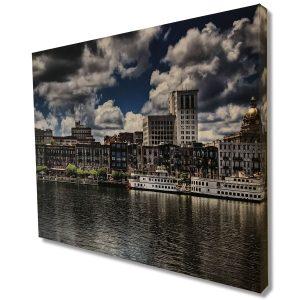 River Street Savannah GA Limited Edition Landscape Canvas Print Signed By Artist