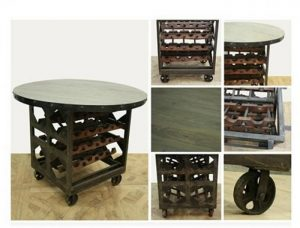 Round Wood & Iron Factory Wine Rack Table with Rolling Cart Wheels Vintage Style