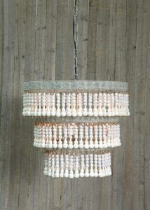Wood Beaded Chandelier Ceiling Light Fixture with Vintage Style Cottage Chic Bohemian
