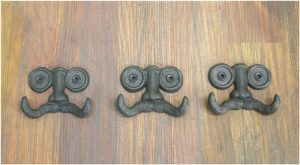 Mustache Face Wall Hooks for Towels Robe Clothes Set of 3pcs Cast Iron Old Style