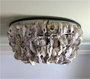 Oyster Shell Ceiling Mounted Flush Light Fixture Big Nautical Hand Made