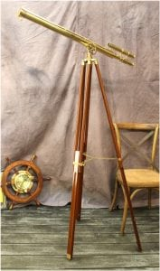 Big Telescope on Adjustable Stand Brass 63″ Tall Antique Reproduction Two Scopes