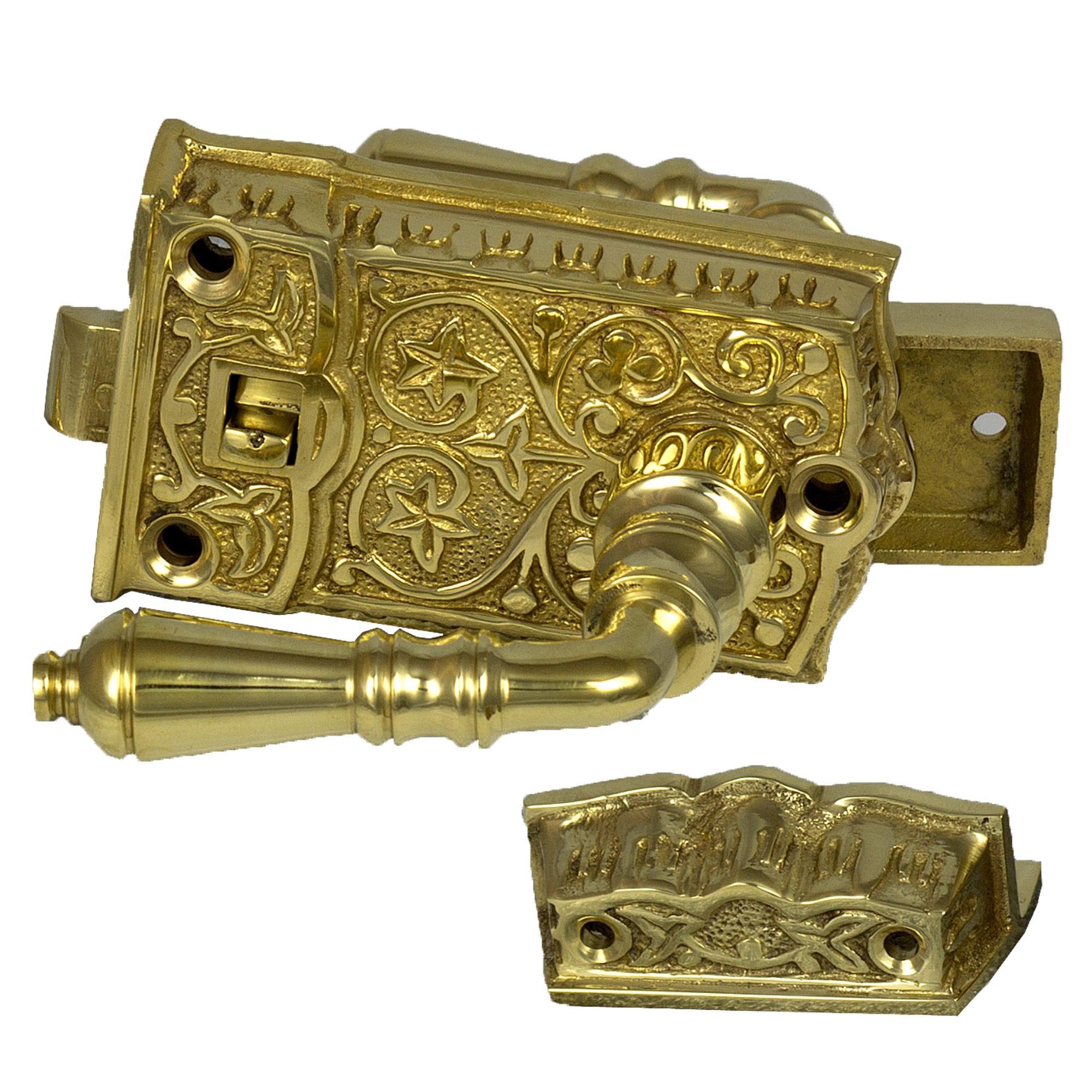 Vintage Cast Brass Victorian Screen Door Latch Lock Hardware For