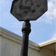 Tall Stop Sign with Access Panel for Light, Street Scape Post Pole