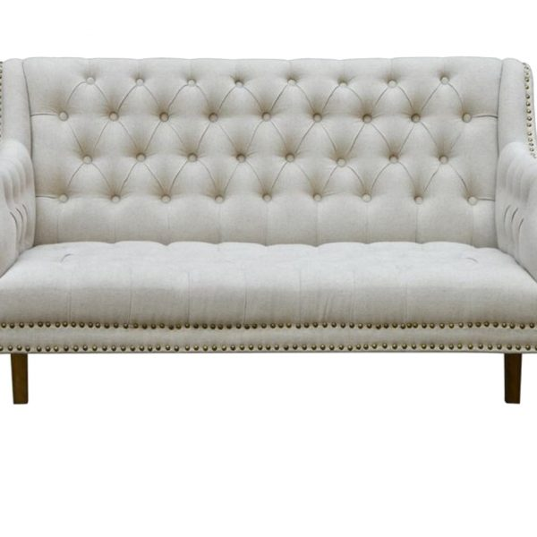 Tufted Settee Couch with Oatmeal Color Linen Fabric and Nail Head