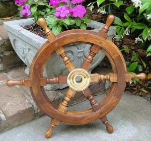 24″ Ship's Wooden Steering Wheel, Antique Style Teak and Brass Nautical Sailing Decor
