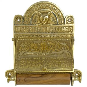 The Sanitary London Toilet Paper Holder Fixture old English Style Brass Replica