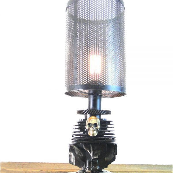 Harley Style Metal Rough Riders Motorcycle Engine Skull Table Lamp
