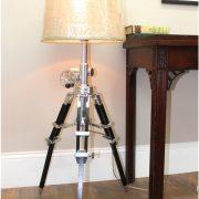 High Designer Tripod Table or Floor Lamp Adjustable Height w Crank Handle Polished Silver