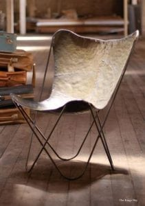 Raw Iron Butterfly Chair in Retro Aged Finish Medium Color PAIR