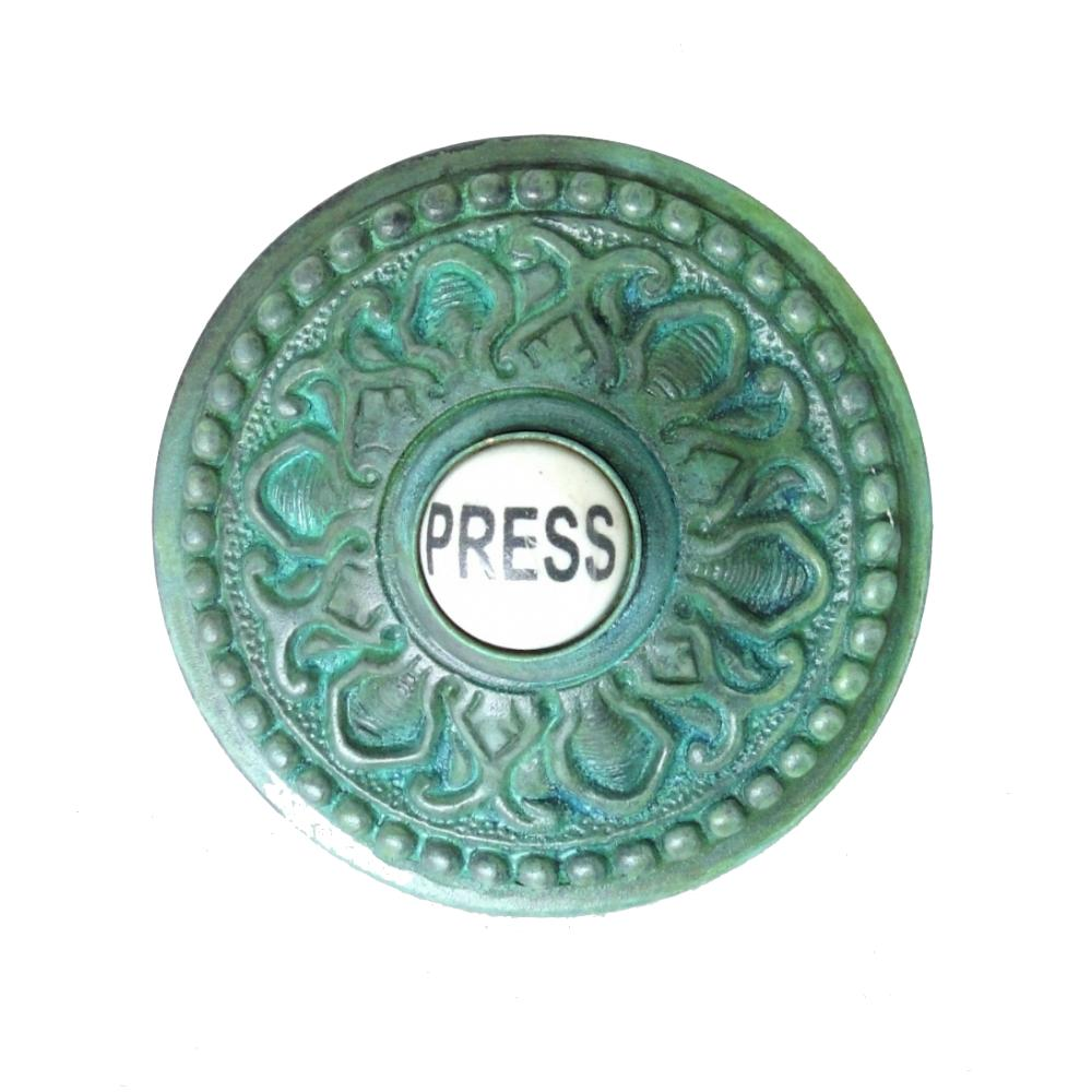 Round Press Porcelain Door Bell Button Electric Victorian Brass Old Tiffany
