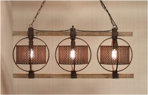 Old Wood with Rusty Barrels Three Light Chandelier for Kitchen or Dining Room