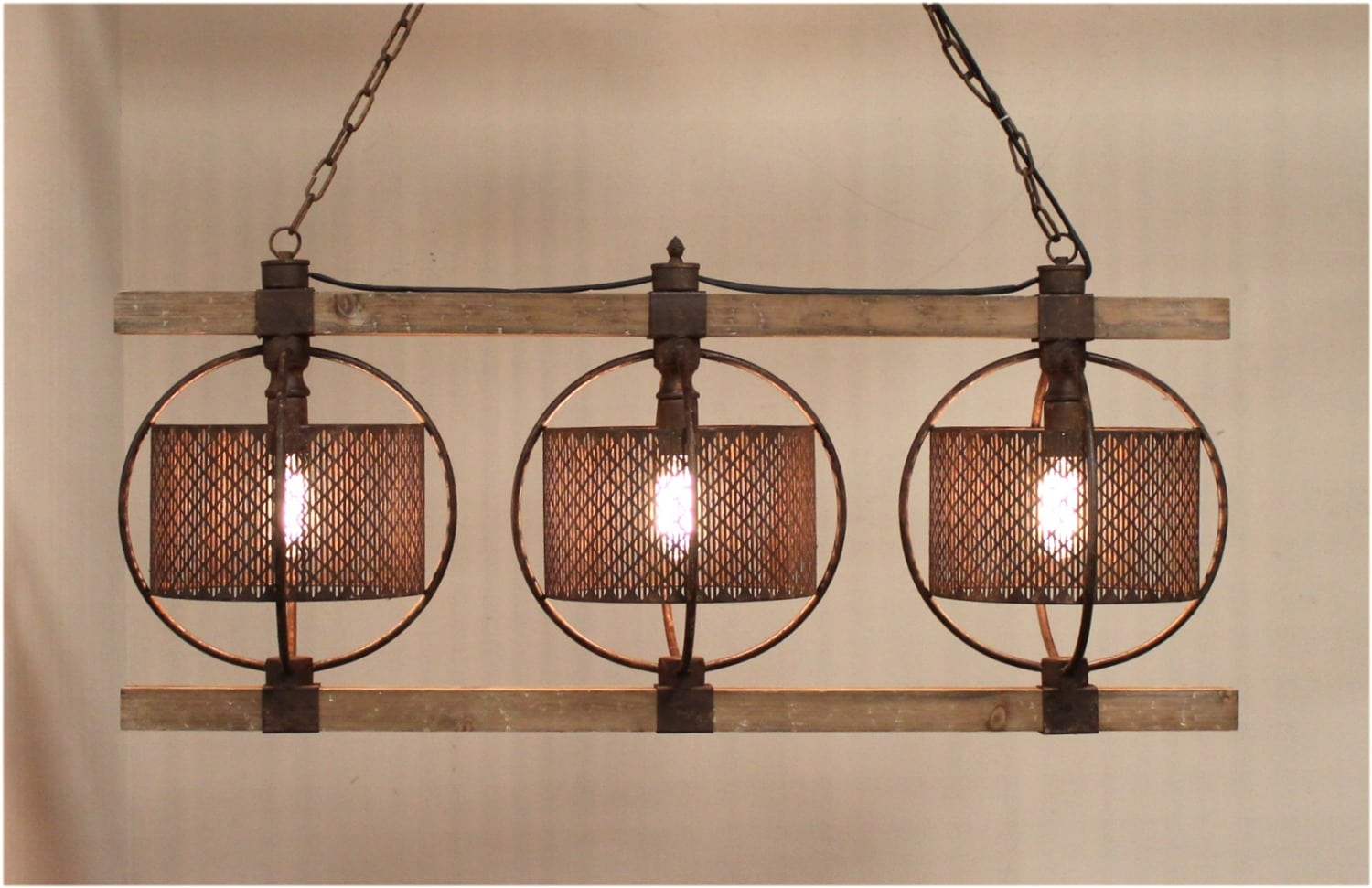 Old wood with rusty barrels three light chandelier for kitchen or old wood with rusty barrels three light chandelier for kitchen or dining room the kings bay arubaitofo Choice Image