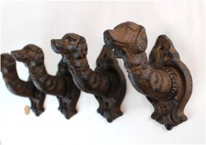 Dog Head Cast Iron Coat Hooks or Leash Holder Small Rust Finish Set of 4pcs