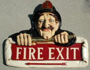 FIRE EXIT SIGN Old Man Fireman with Hat Arrow Vintage Antique Style Store Shop Bar