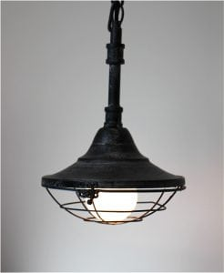 Subway Dock Light Industrial Factory Steampunk w Pipe & Cage Pendant