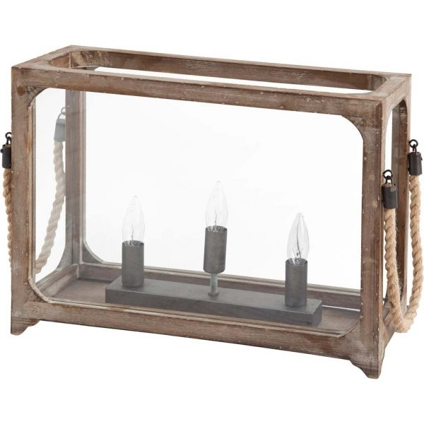 Three bulb Table Lamp with wood frame glass walls & attached Rope Handles