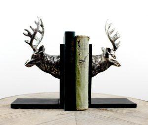 Silver Elk Reindeer Bookends with Black Wood Polished Aluminum