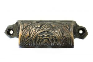 Solid Brass Aged Bronze Bin Pull Antique Hardware Replica Victorian Vintage Styl